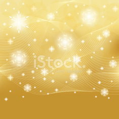 Abstract winter gold white snowflakes background