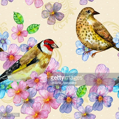seamless texture with cute birds watercolor