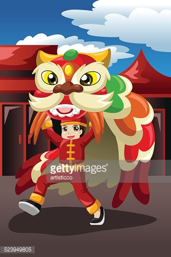 Boy doing a lion dance