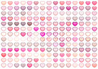 collection floating love heart in multiple pink on white