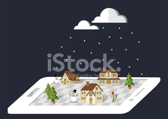 Winter village on the smartphone in white