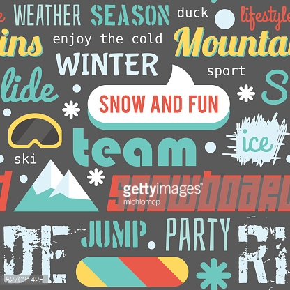 Seamless vector pattern with snowboarding stuff and words