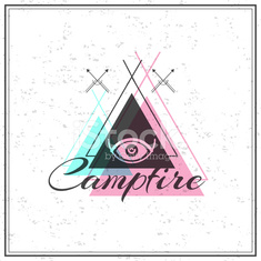 Print on t-shirt design theme of the campfire and mystic