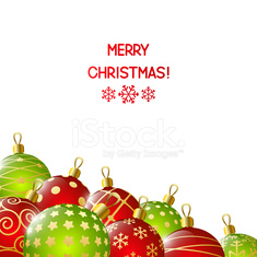 Red and green Christmas balls on white background