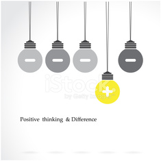 creative light bulb symbol with positive thinking and difference