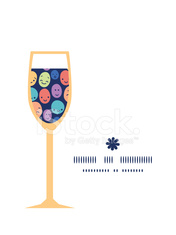 Vector funny faces wine glass silhouette pattern frame