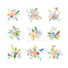 Hand Drawn vintage floral elements. Set of flowers with birds.