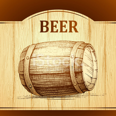 beer keg for lable, package. wooden  vintage background