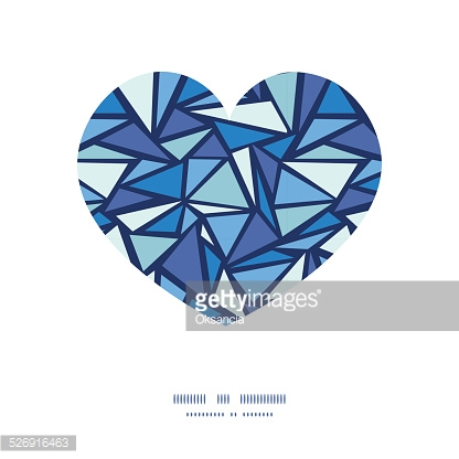 Vector abstract ice chrystals heart silhouette pattern frame