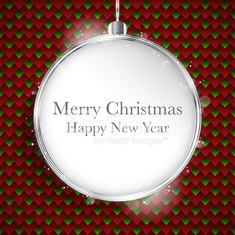 Merry Christmas Happy New Year Ball Silver  on Geometric Seamles