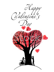 Happy Valentines Day. Watercolor vector background