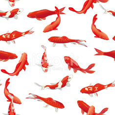 Red koi fishes seamless vector print