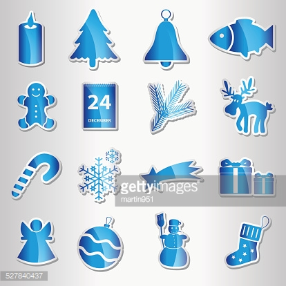 christmas blue shiny stickers collection eps10