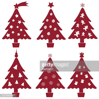 christmas red and white tree decoration collection eps10