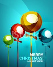 Glossy Christmas balloons, greeting card template