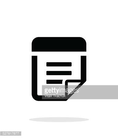 Note with text icon on white background.