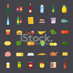 Flat Style Food and Beverages Icon Set