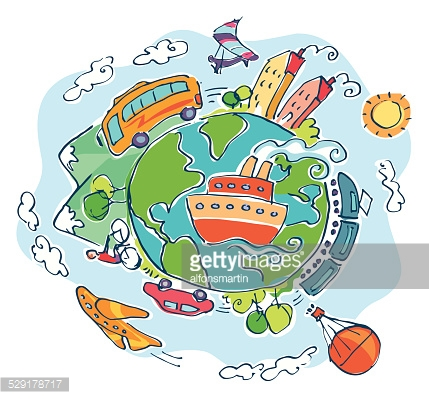 Earth with different means of transportation