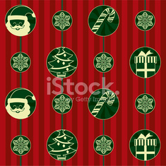 Red background with Christmas symbols