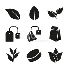 Tea Leaf and Bags Icons Set. Vector.