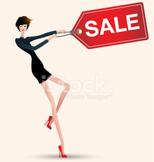 sale and woman shopping, vector, fashion, price tag