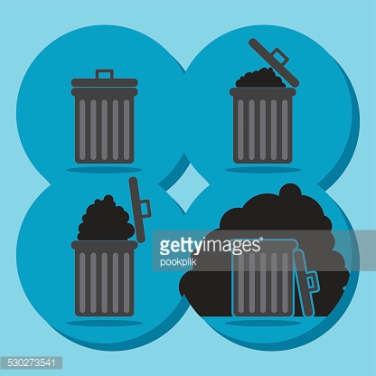 Gray garbage bin icon empty and full web icon