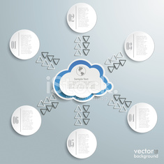 Connected Cloud With Six Circles Infographic