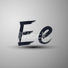 vector calligraphic hand-drawn marker or ink letter E