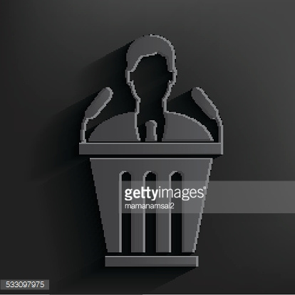Announcer symbol on black background,clean vector