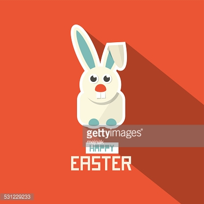 Happy Easter Paper Flat Design Bunny