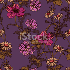 Seamless pattern with flowers poppies.