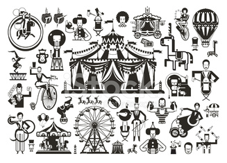 Circus set of icons