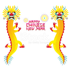 Twin Chinese Dragon and Chinese New Year