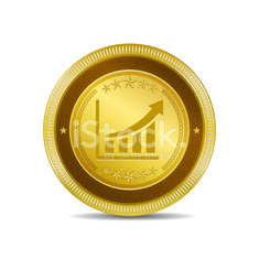Graph Golden Vector Icon Button