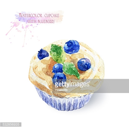 Cupcake with blueberries.