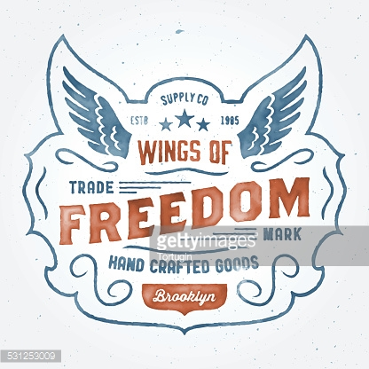 'Wings of Freedom' vintage watercolor logo t-shirt design