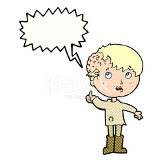 cartoon boy with growth on head with speech bubble