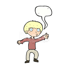 cartoon boy waving warning with speech bubble