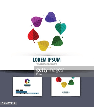 Colored leaves in a circle. Logo, icon, emblem, template, business