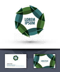 foliage in a circle. Logo, icon, emblem, template, business card