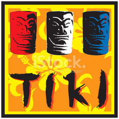Red White and Blue Tikis! (vector illustration)