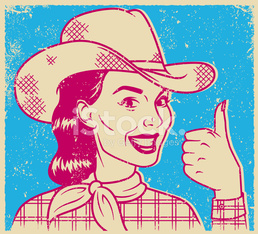 Retro Screen Print of a Cowgirl Giving a Thumb's Up