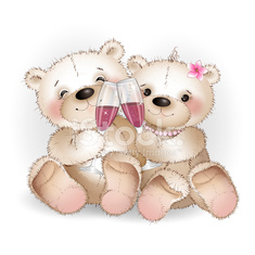 Two lovers bear drinking glasses of wine