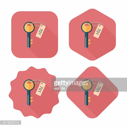 hotel key flat icon with long shadow,eps10