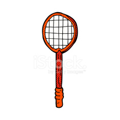 comic cartoon old tennis racket
