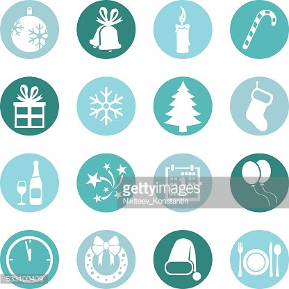 Vector Set of New Year and Christmas Icons