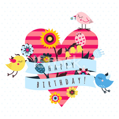 Happy birthday vector card with birds and heart