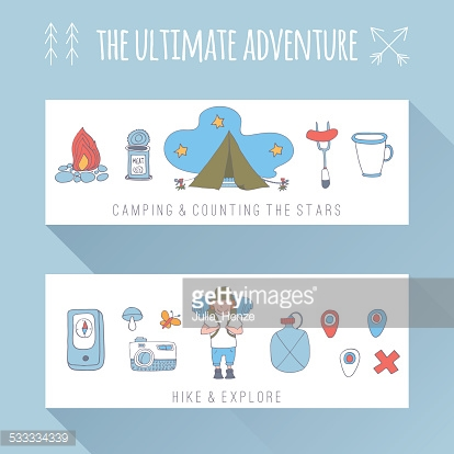 Set of doodle adventure banners