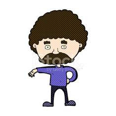 comic cartoon man with mustache making camp gesture