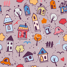 Pattern with cute town houses